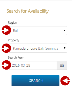 Complete the 'Region', 'Property', and 'Search from' fields, and then click the 'Search' button