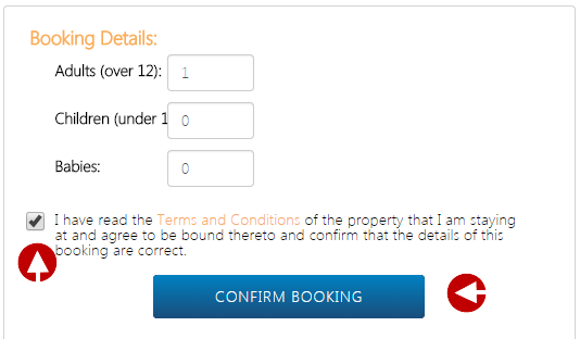Click on the 'Confirm Booking' button