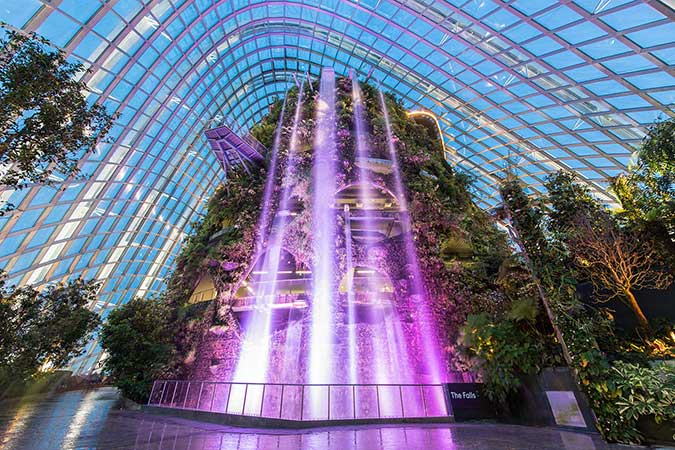 Waterfall in Cloud Forest Dome, Gardens by the Bay, Singapore